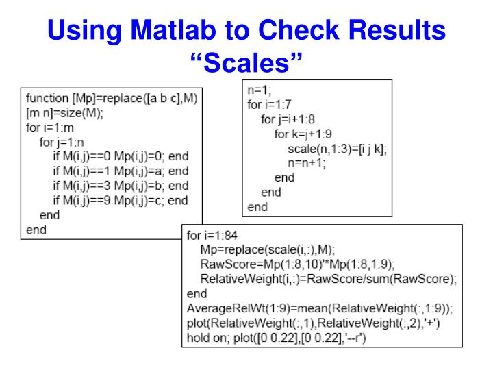 "Using Matlab to Check Results ""Scales"""