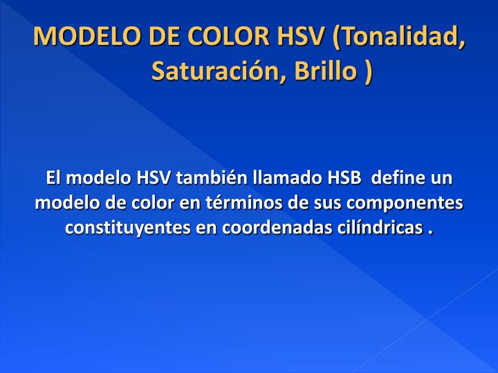 Modelo de color hsv tonalidad saturaci n brillo