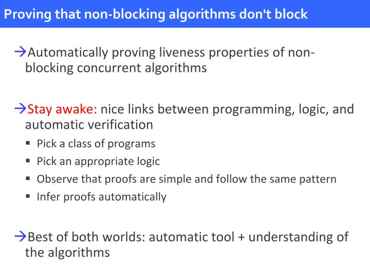Proving that non-blocking algorithms don't block