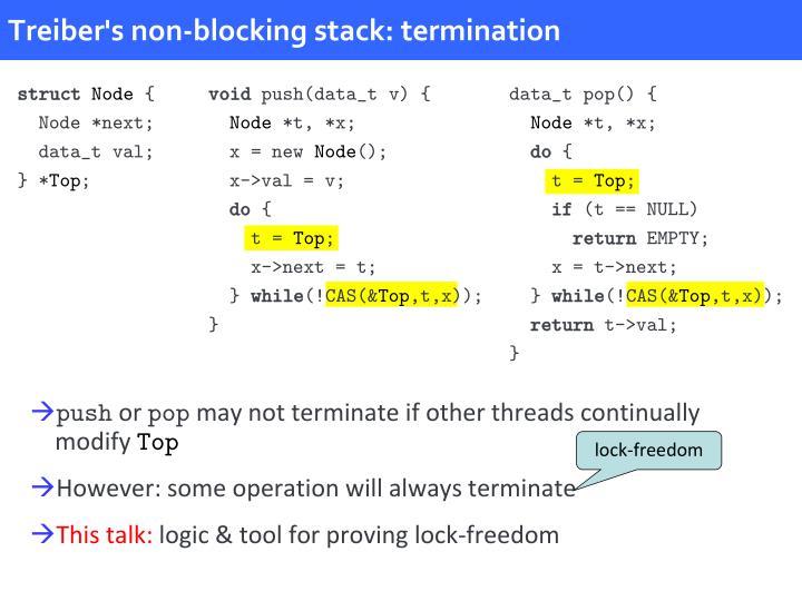Treiber's non-blocking stack: termination