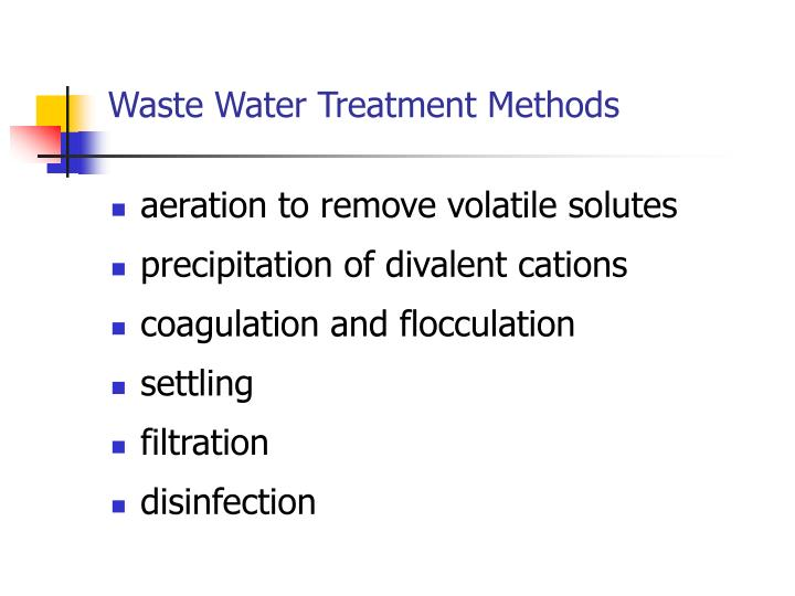 Waste Water Treatment Methods
