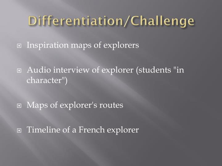 Differentiation/Challenge
