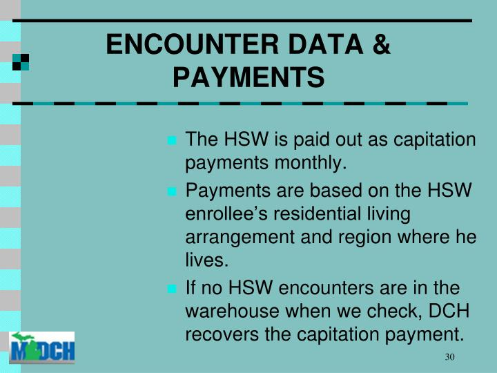 ENCOUNTER DATA & PAYMENTS