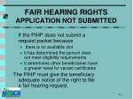 fair hearing rights application not submitted