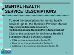 mental health service descriptions