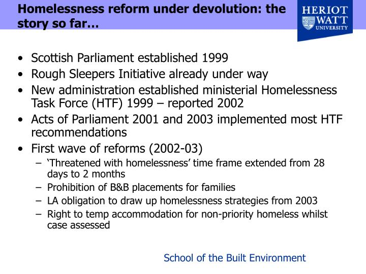 Homelessness reform under devolution: the story so far…
