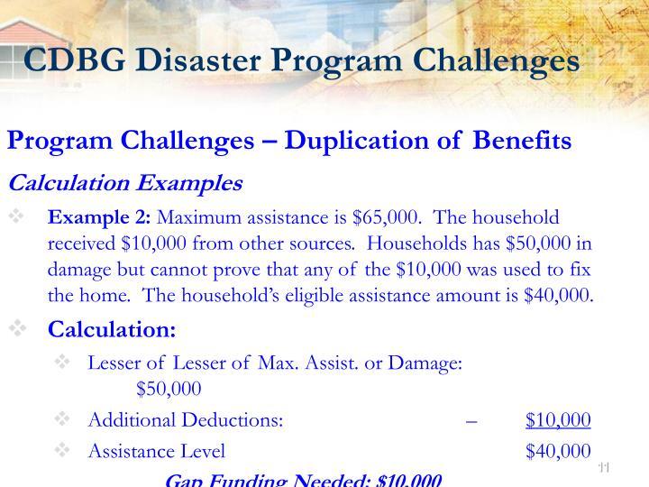 CDBG Disaster Program Challenges