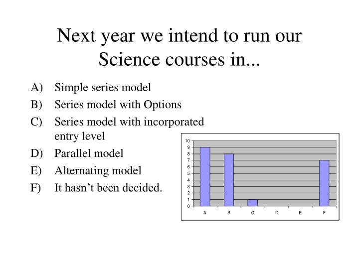 Next year we intend to run our Science courses in...