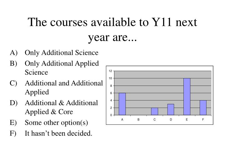 The courses available to Y11 next year are...