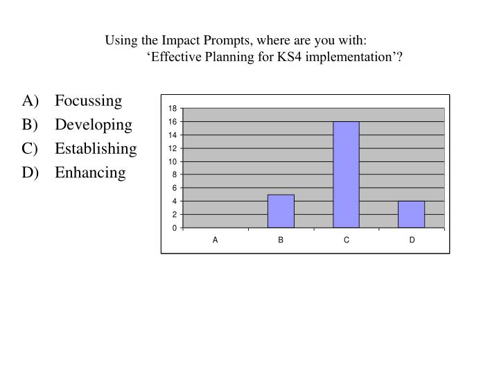 Using the impact prompts where are you with effective planning for ks4 implementation