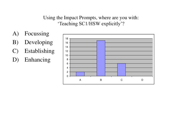 Using the impact prompts where are you with teaching sc1 hsw explicitly