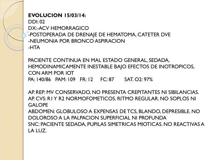 EVOLUCION 15/03/14: