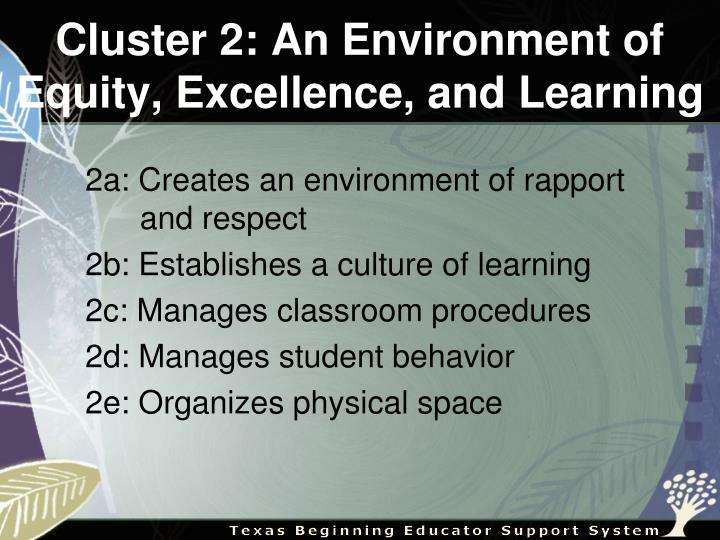 Cluster 2: An Environment of Equity, Excellence, and Learning