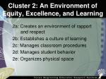 cluster 2 an environment of equity excellence and learning