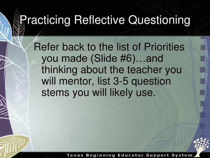 Practicing Reflective Questioning