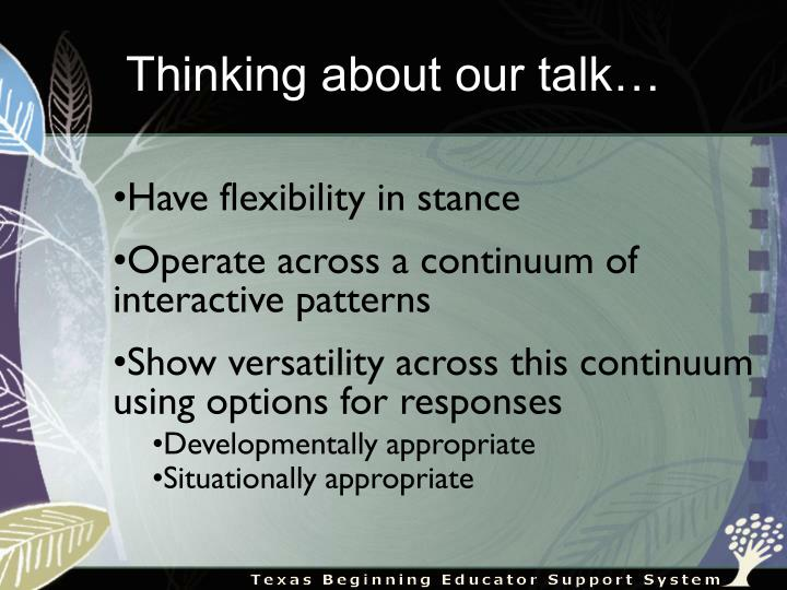 Thinking about our talk…