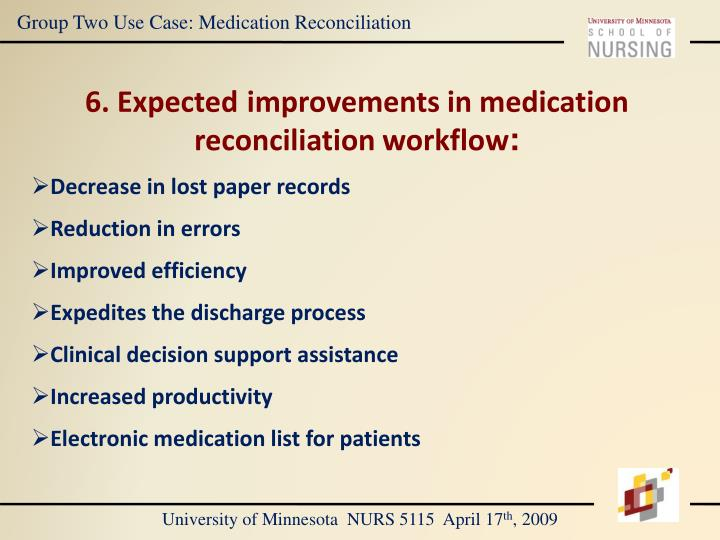 Group Two Use Case: Medication Reconciliation