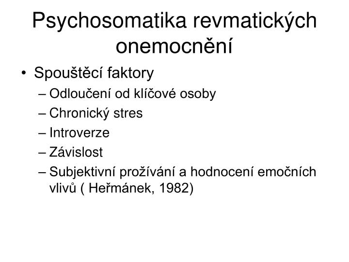 Psychosomatika revmatických onemocnění