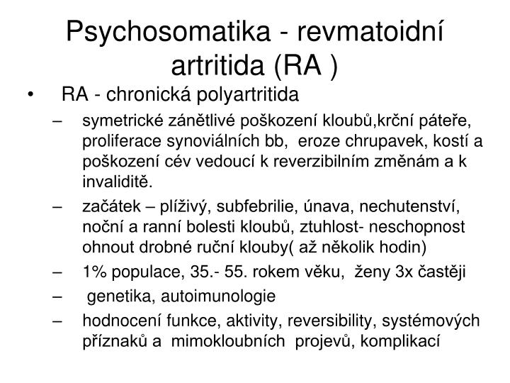 Psychosomatika - revmatoidní artritida (RA )