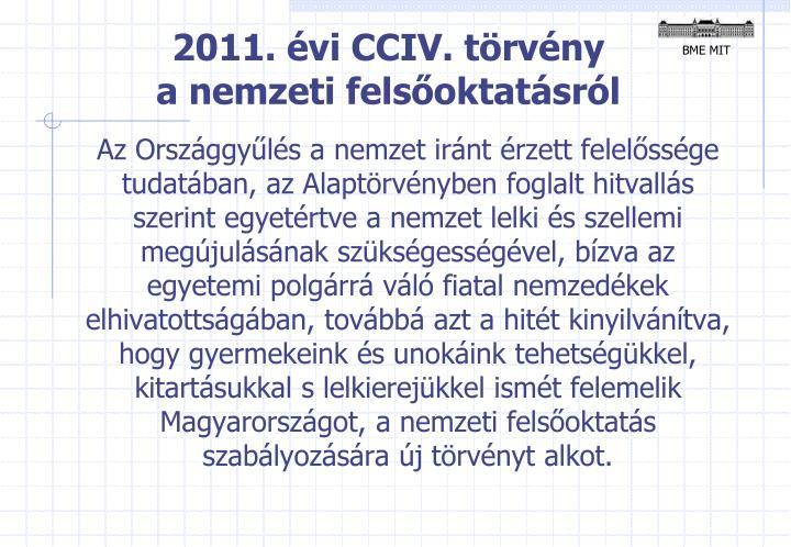 2011. évi CCIV. törvény