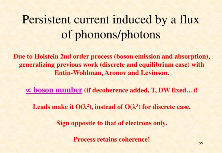 Persistent current induced by a flux of phonons/photons