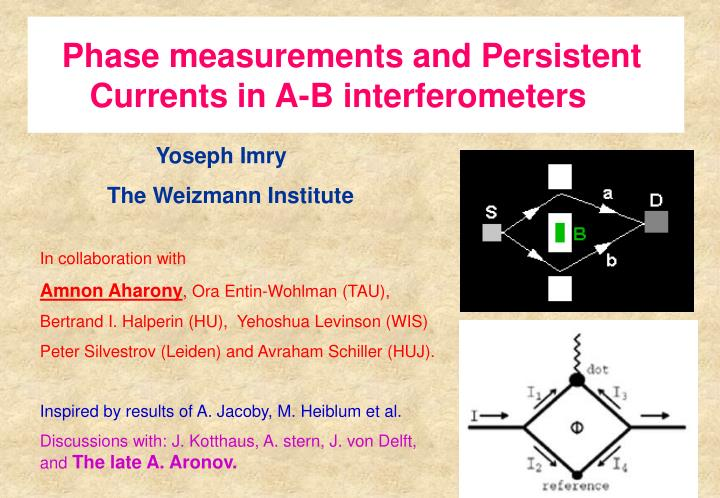 Phase measurements and persistent currents in a b interferometers