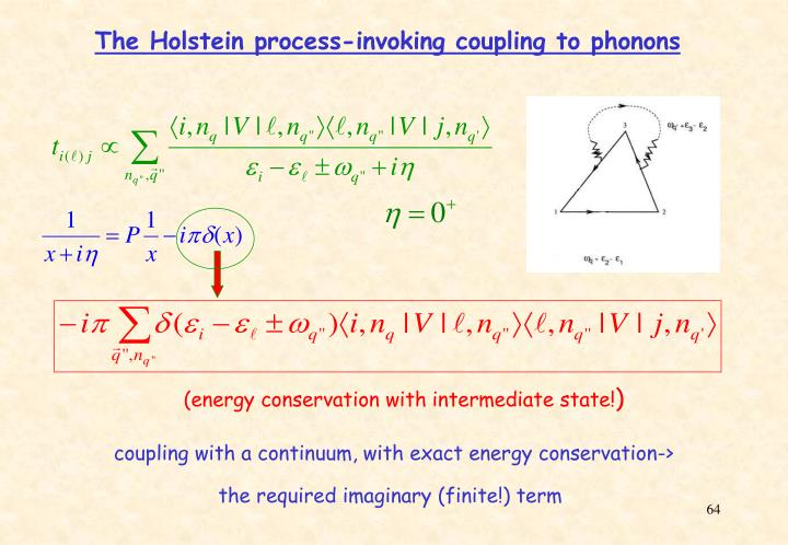 The Holstein process-invoking coupling to phonons