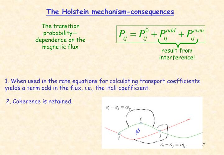The Holstein mechanism-consequences