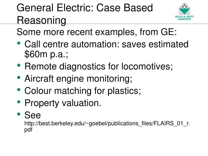 General Electric: Case Based Reasoning