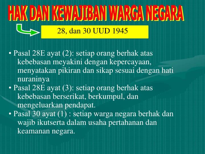 28, dan 30 UUD 1945