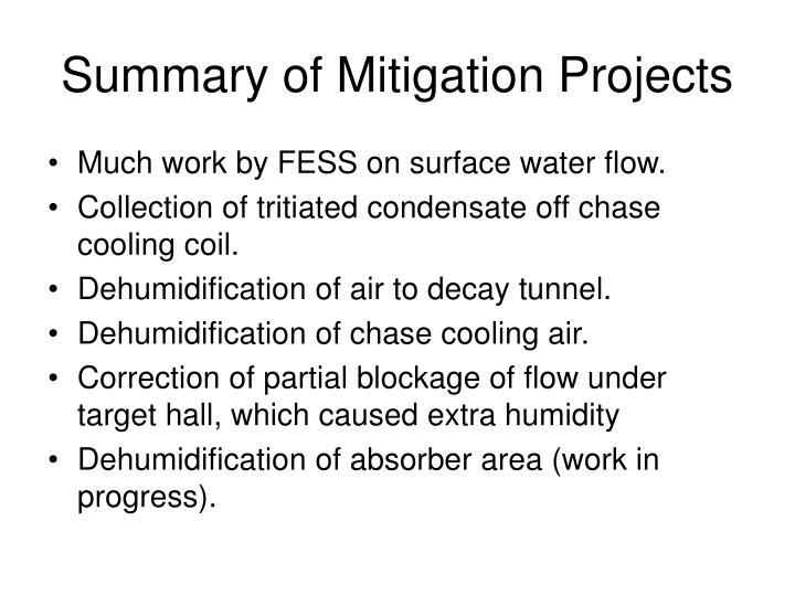 Summary of Mitigation Projects