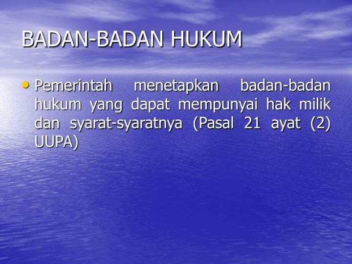 BADAN-BADAN HUKUM