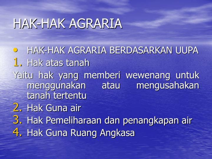 HAK-HAK AGRARIA