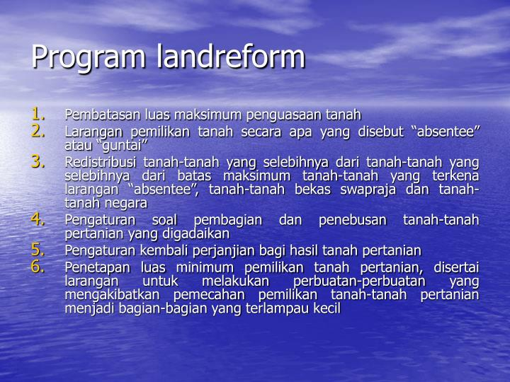 Program landreform