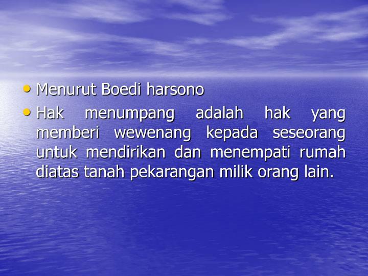 Menurut Boedi harsono