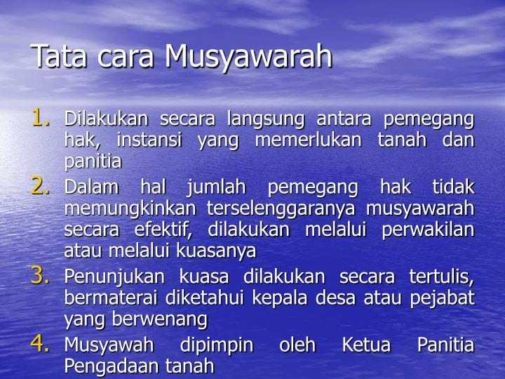 Tata cara Musyawarah
