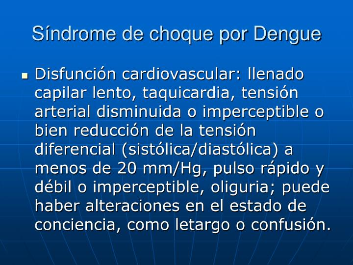 Síndrome de choque por Dengue