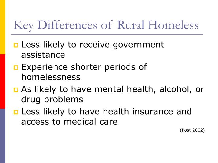 Key Differences of Rural Homeless