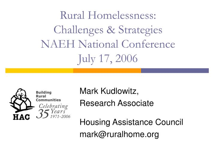 Rural Homelessness: