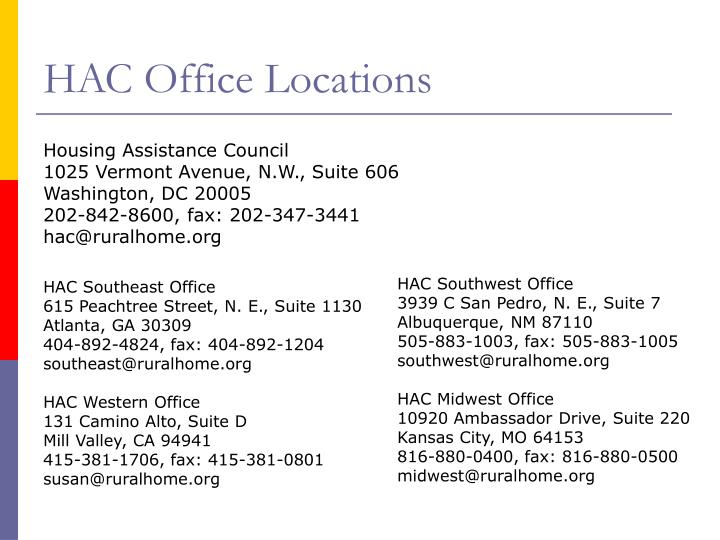 HAC Office Locations
