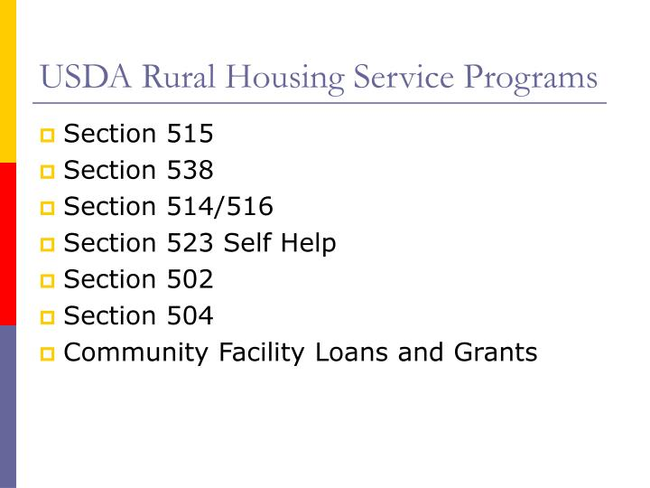 USDA Rural Housing Service Programs