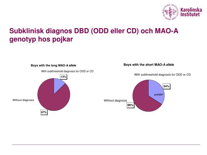 Subklinisk diagnos DBD (ODD eller CD) och MAO-A genotyp hos pojkar