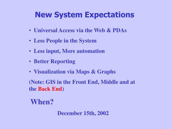 New System Expectations