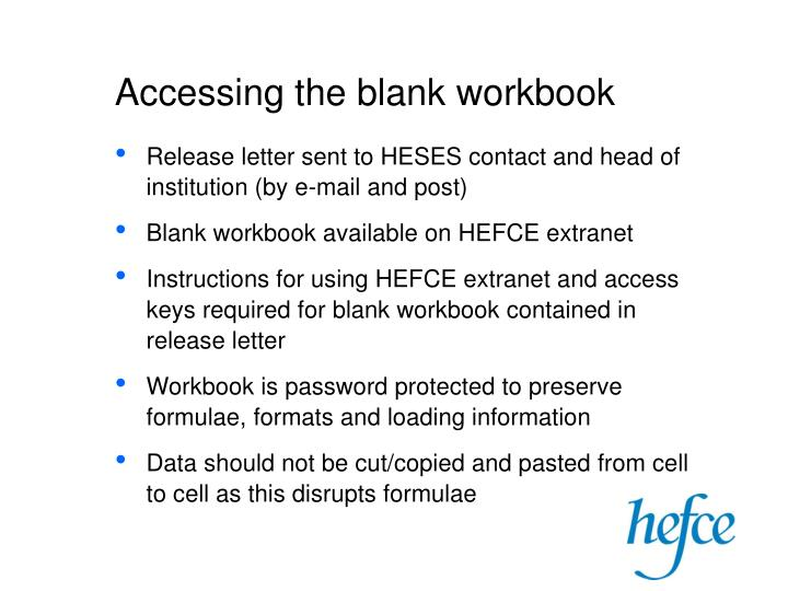 Accessing the blank workbook