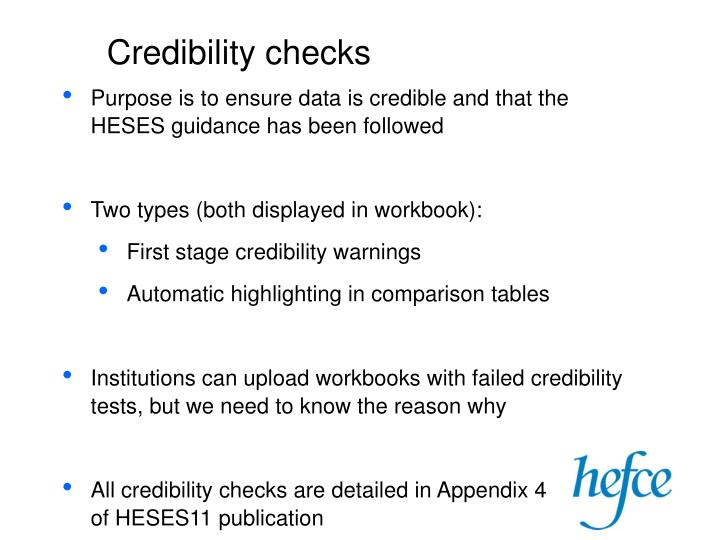 Credibility checks