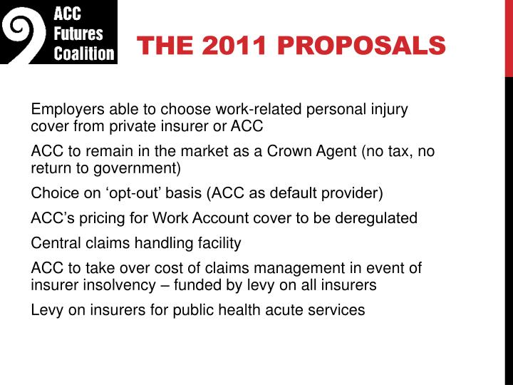 The 2011 proposals