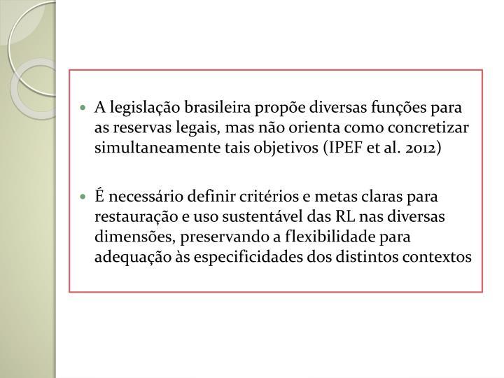 A legislação brasileira propõe diversas funções para as reservas legais, mas não orienta como concretizar simultaneamente tais objetivos (IPEF