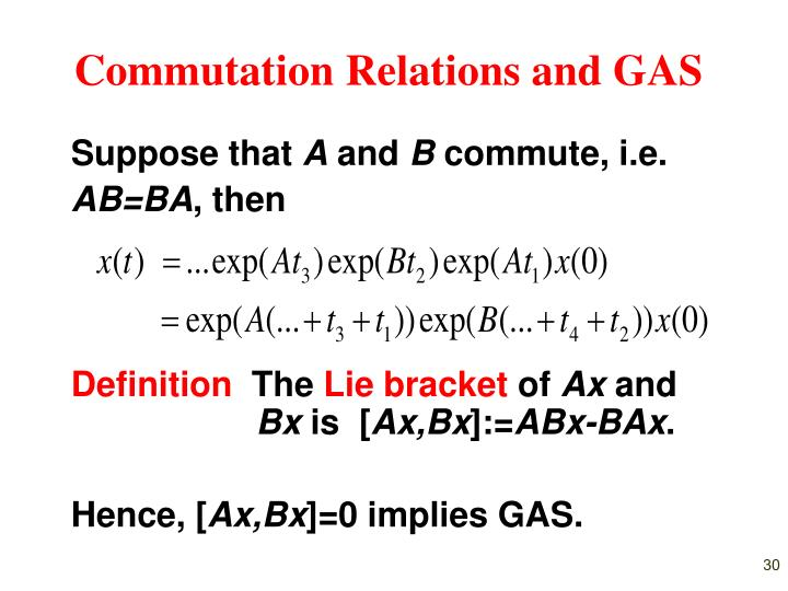 Commutation Relations and GAS