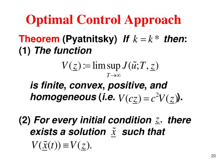 Optimal Control Approach