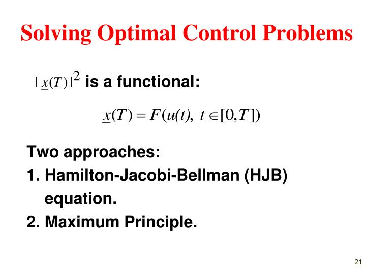 Solving Optimal Control Problems